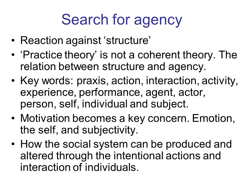 Search for agency Reaction against 'structure'