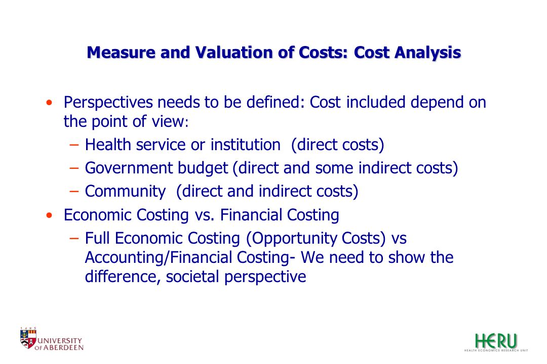 Measure and Valuation of Costs: Cost Analysis