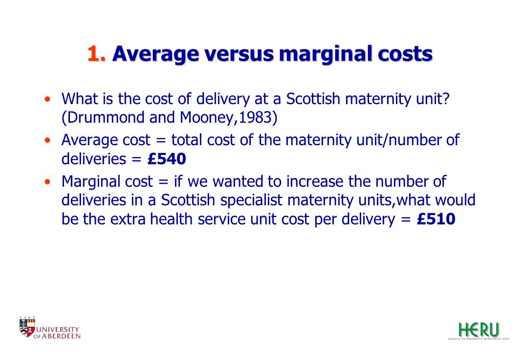 1. Average versus marginal costs