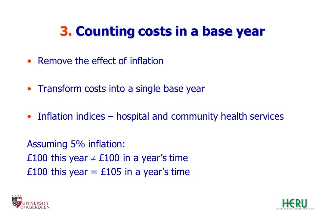 3. Counting costs in a base year