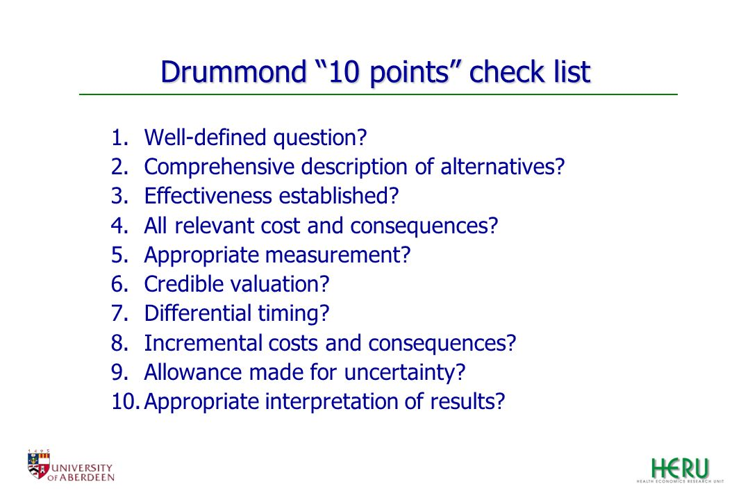 Drummond 10 points check list