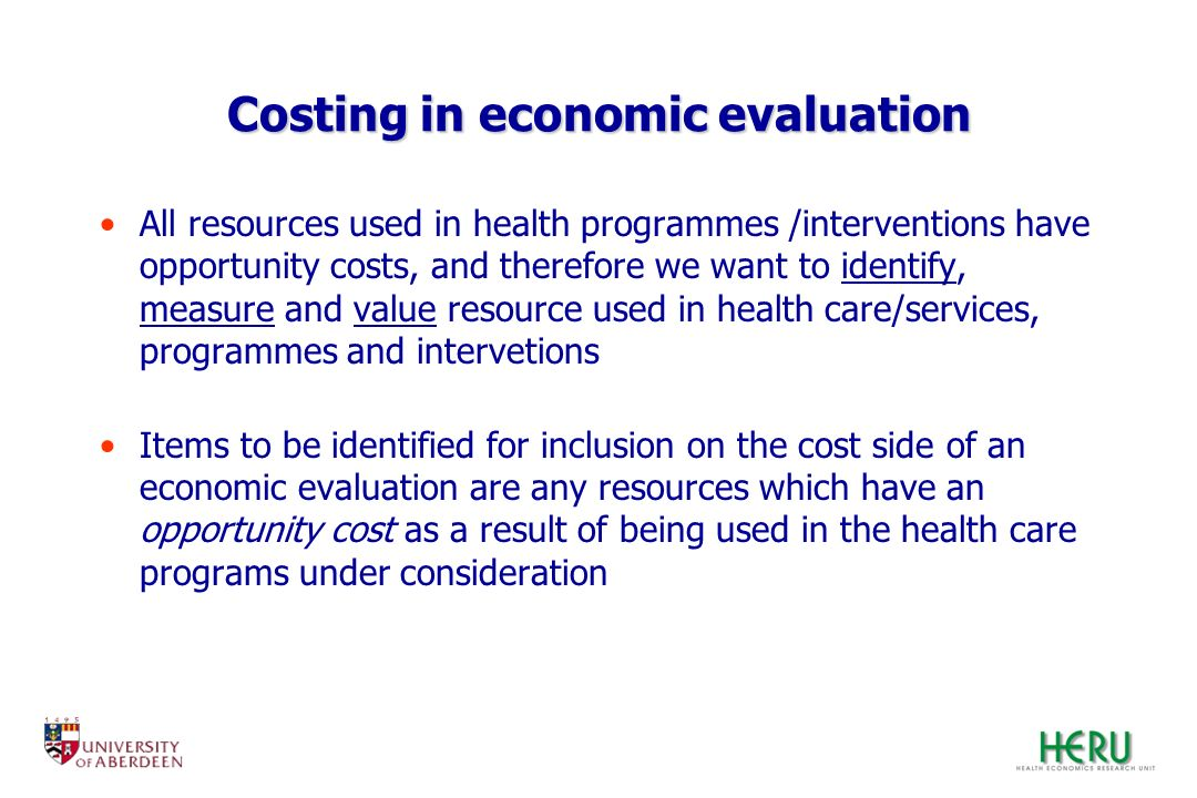 Costing in economic evaluation
