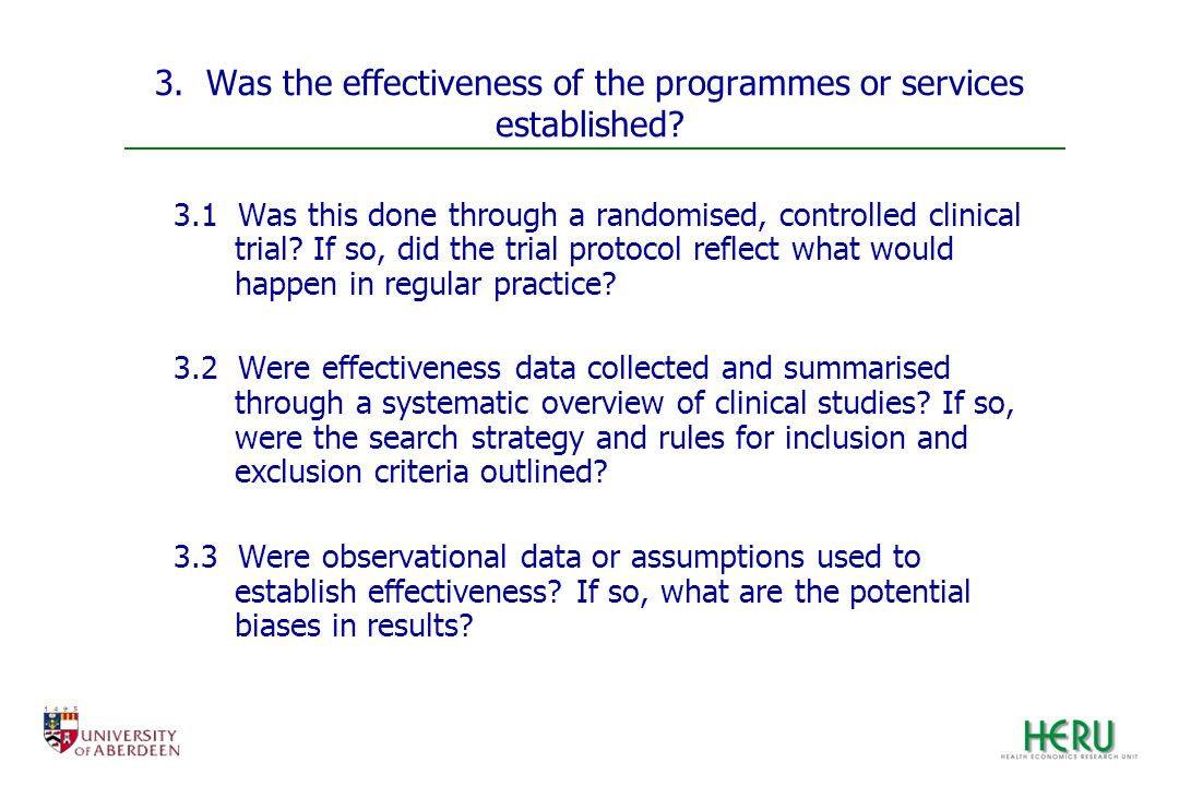 3. Was the effectiveness of the programmes or services established