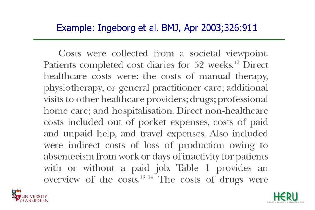 Example: Ingeborg et al. BMJ, Apr 2003;326:911