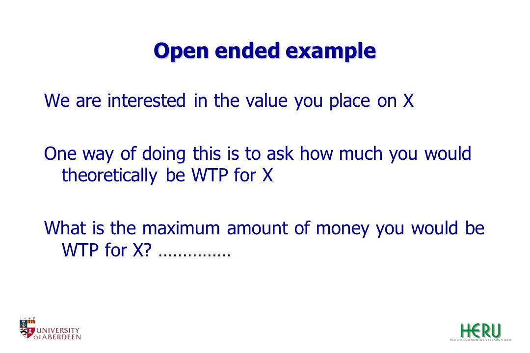 Open ended example We are interested in the value you place on X
