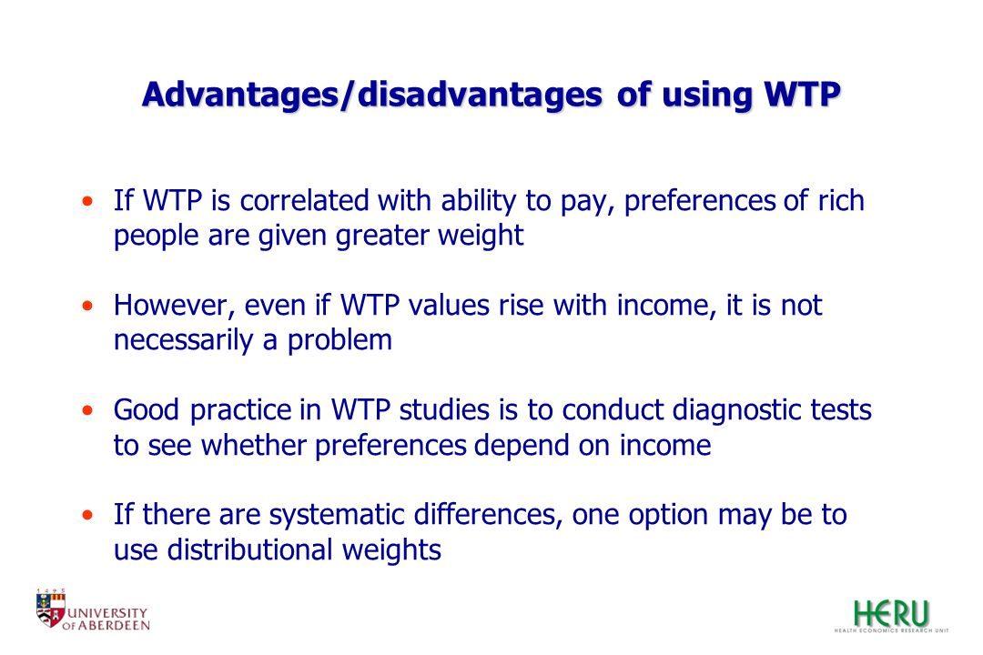 Advantages/disadvantages of using WTP