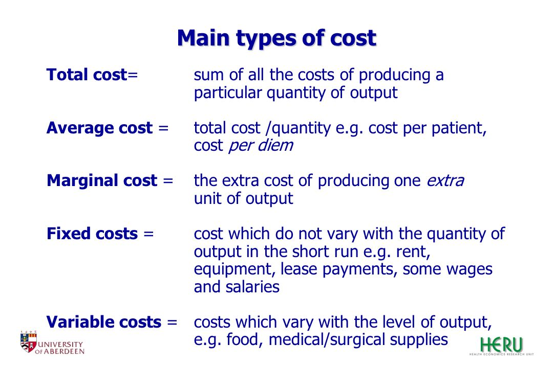 Main types of cost Total cost= sum of all the costs of producing a