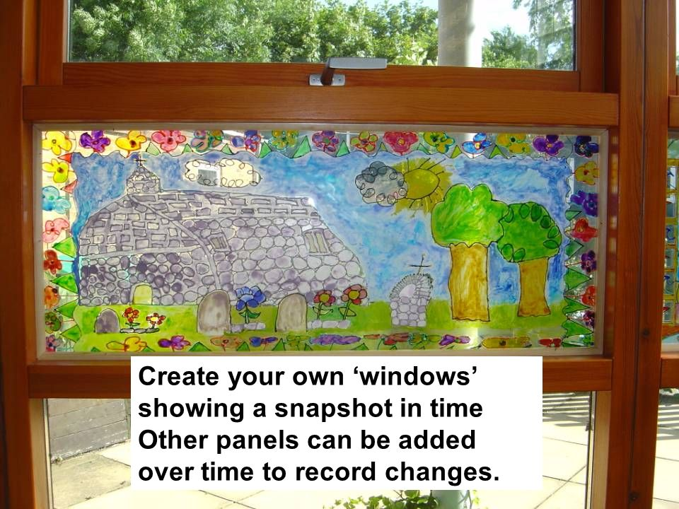 Create your own 'windows' showing a snapshot in time Other panels can be added over time to record changes.