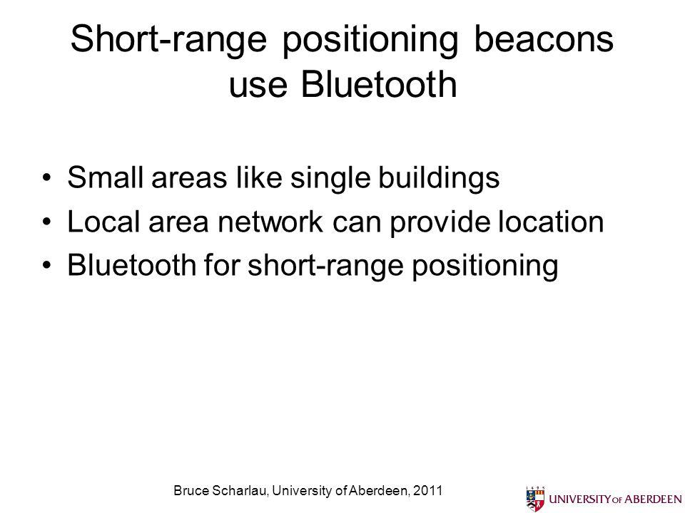 Short-range positioning beacons use Bluetooth