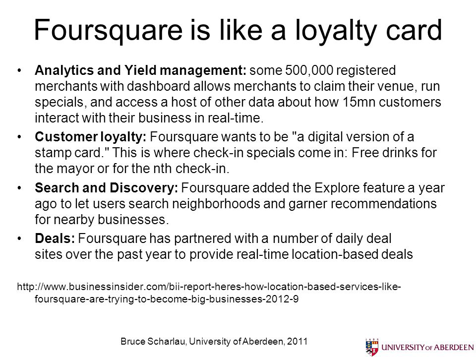 Foursquare is like a loyalty card