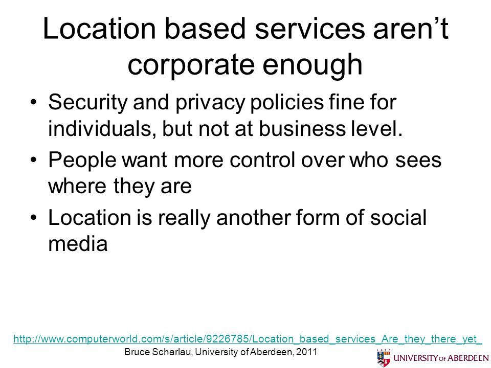 Location based services aren't corporate enough