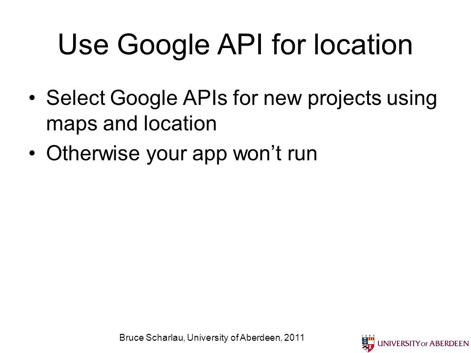 Use Google API for location