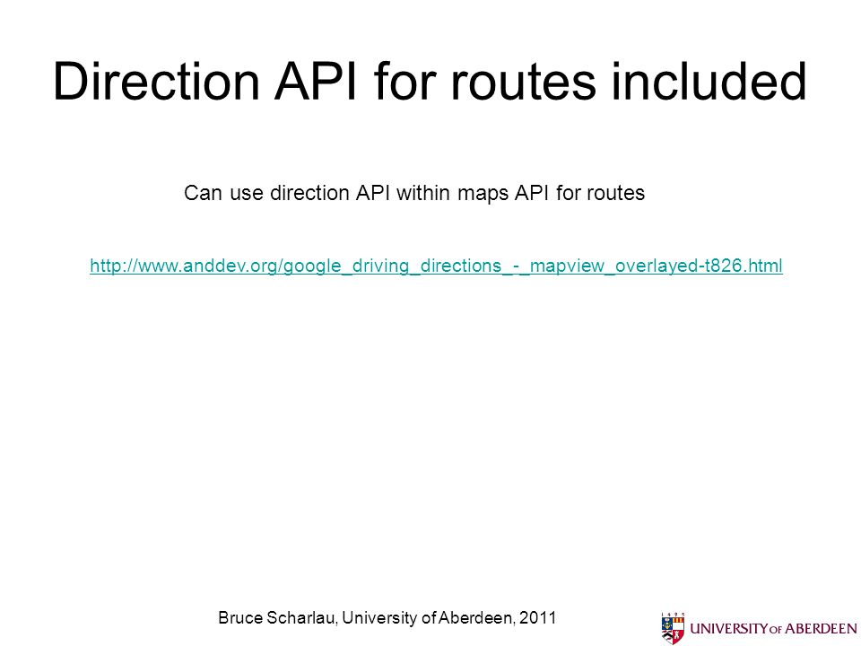Direction API for routes included