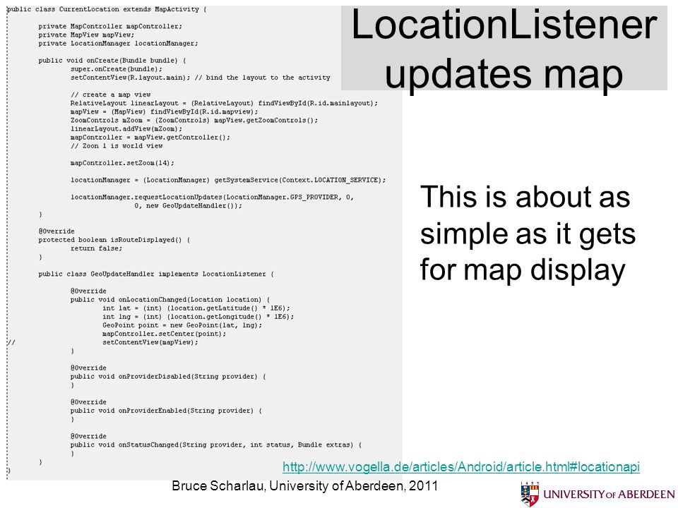 LocationListener updates map