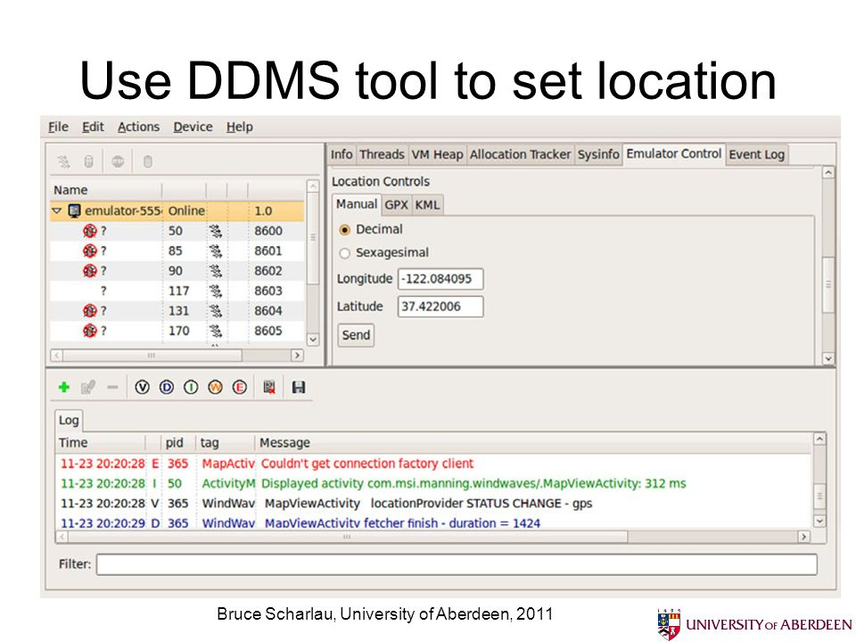 Use DDMS tool to set location