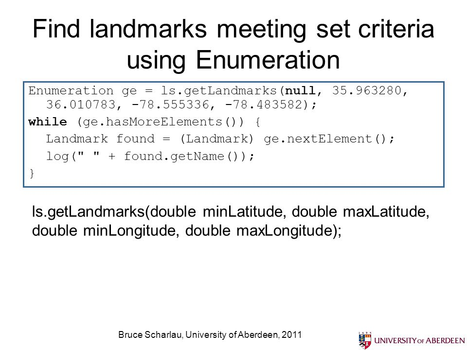 Find landmarks meeting set criteria using Enumeration