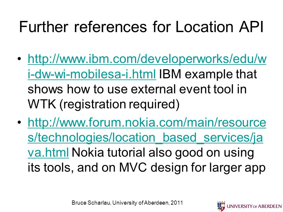 Further references for Location API