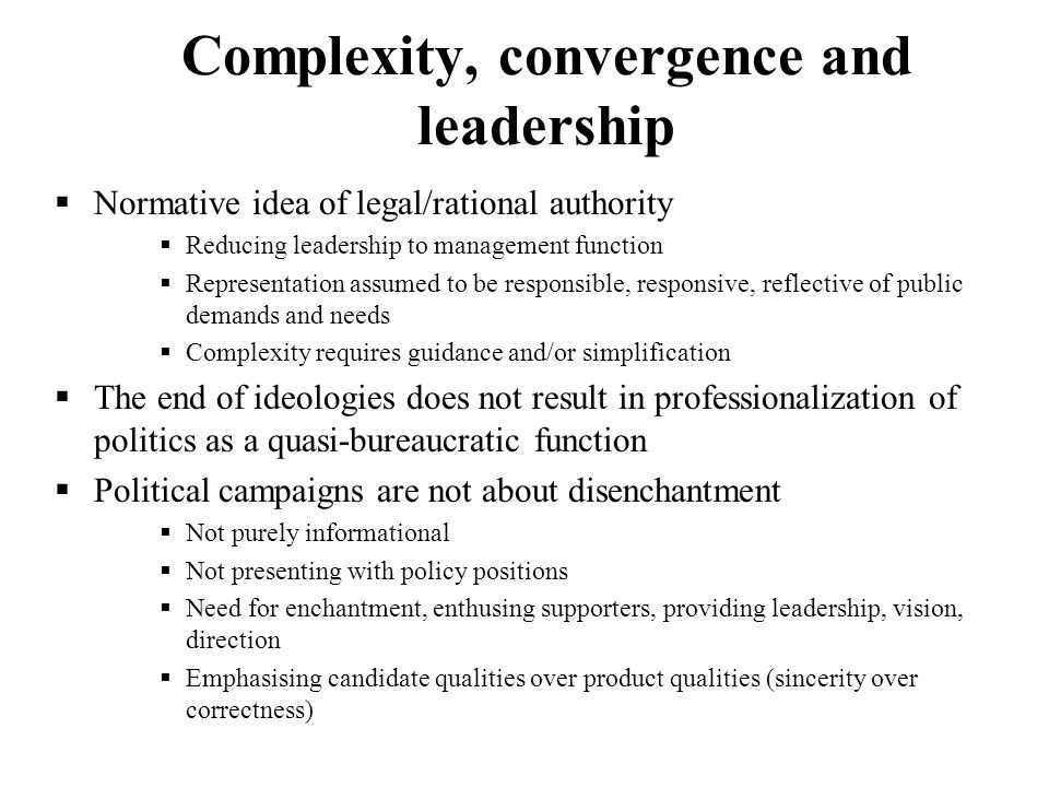 Complexity, convergence and leadership