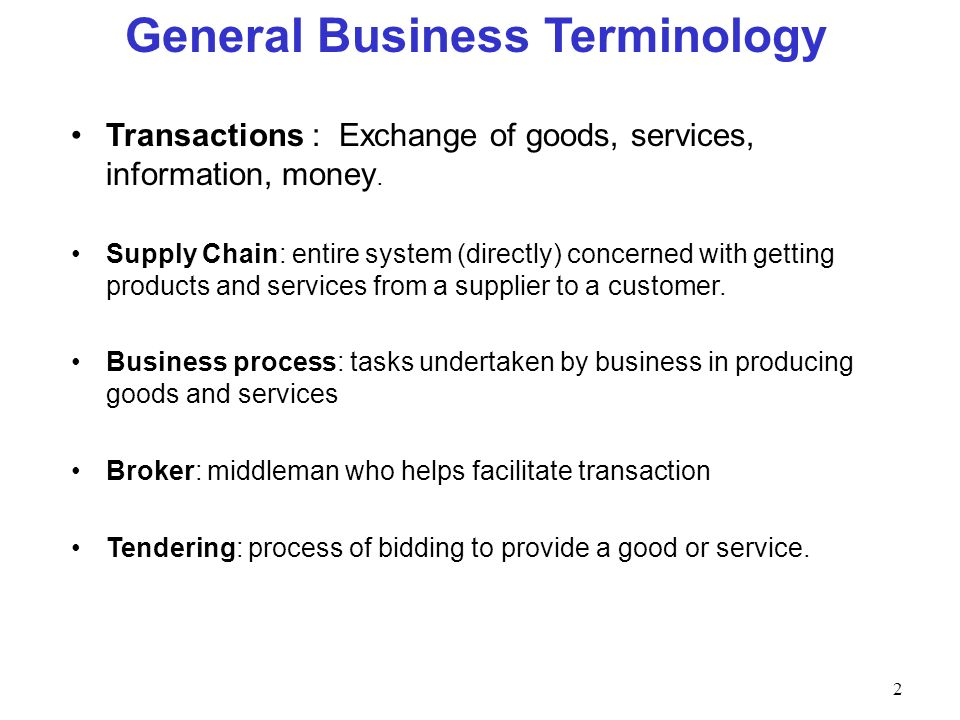 General Business Terminology