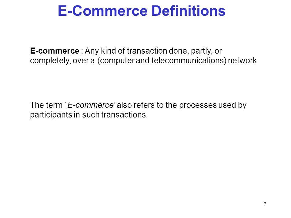 E-Commerce Definitions