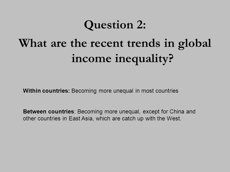 What are the recent trends in global income inequality