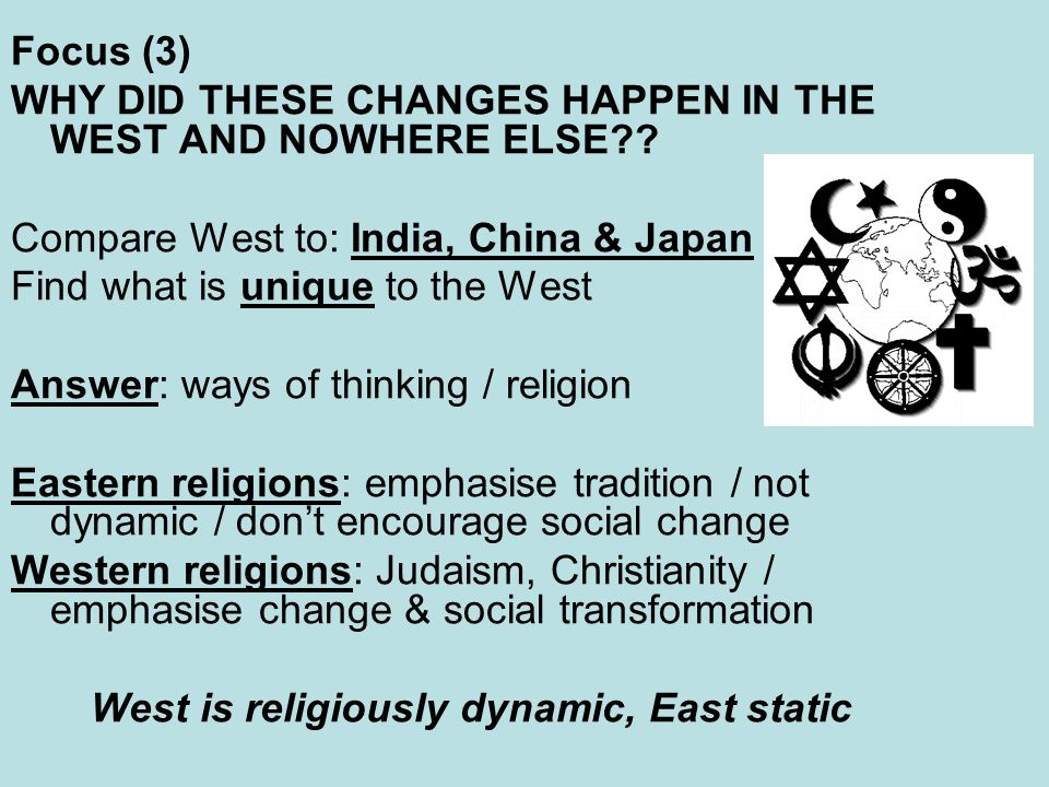 West is religiously dynamic, East static