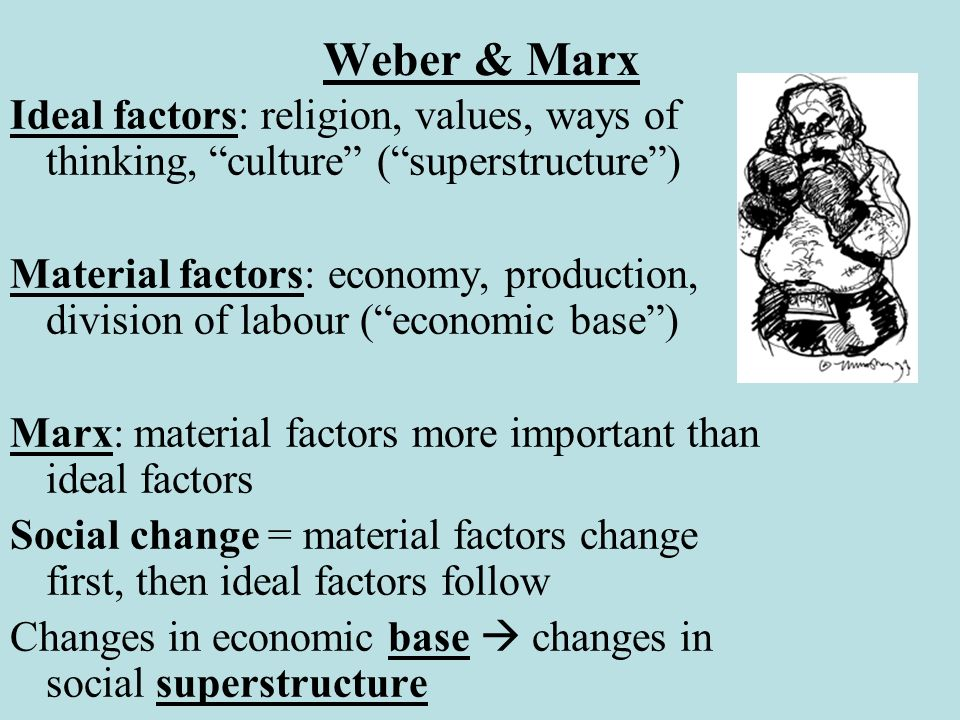 Weber & Marx Ideal factors: religion, values, ways of thinking, culture ( superstructure )