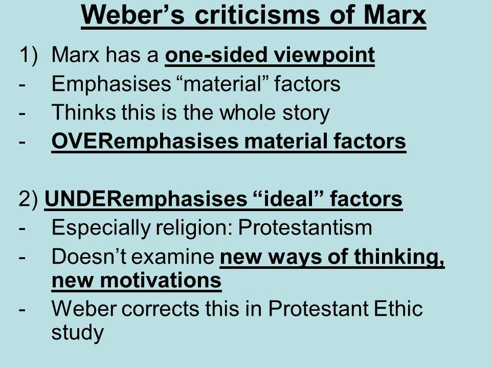 Weber's criticisms of Marx