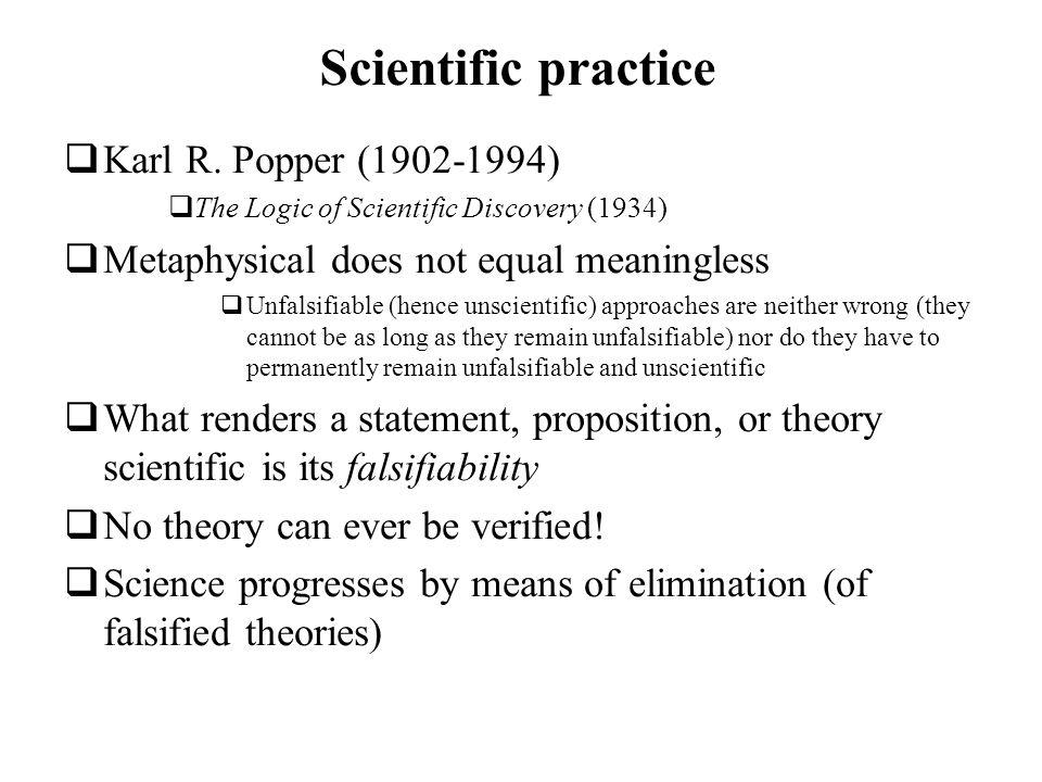 Scientific practice Karl R. Popper (1902-1994)