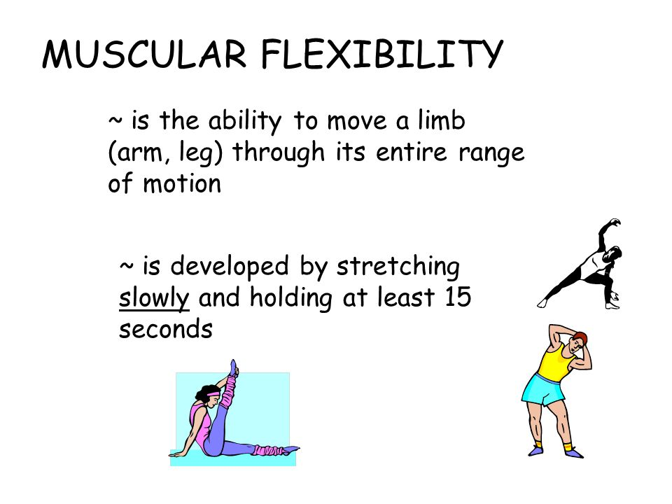 MUSCULAR FLEXIBILITY ~ is the ability to move a limb (arm, leg) through its entire range of motion.