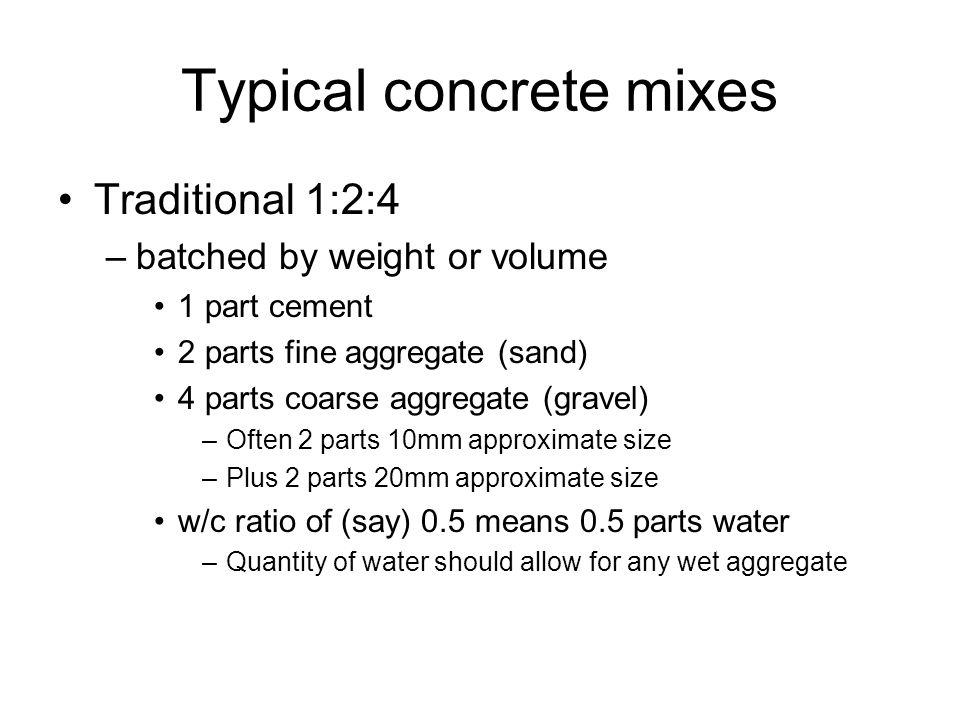 Typical concrete mixes