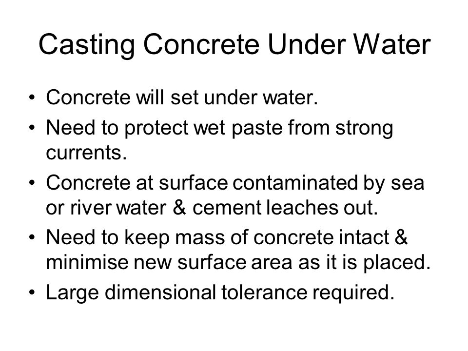 Casting Concrete Under Water