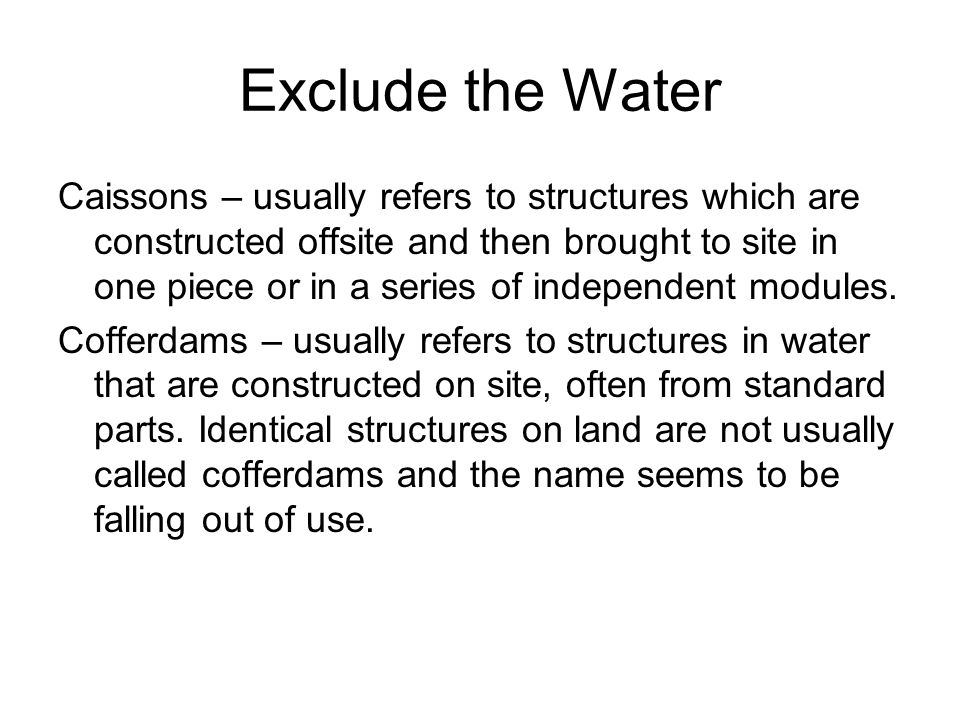 Exclude the Water