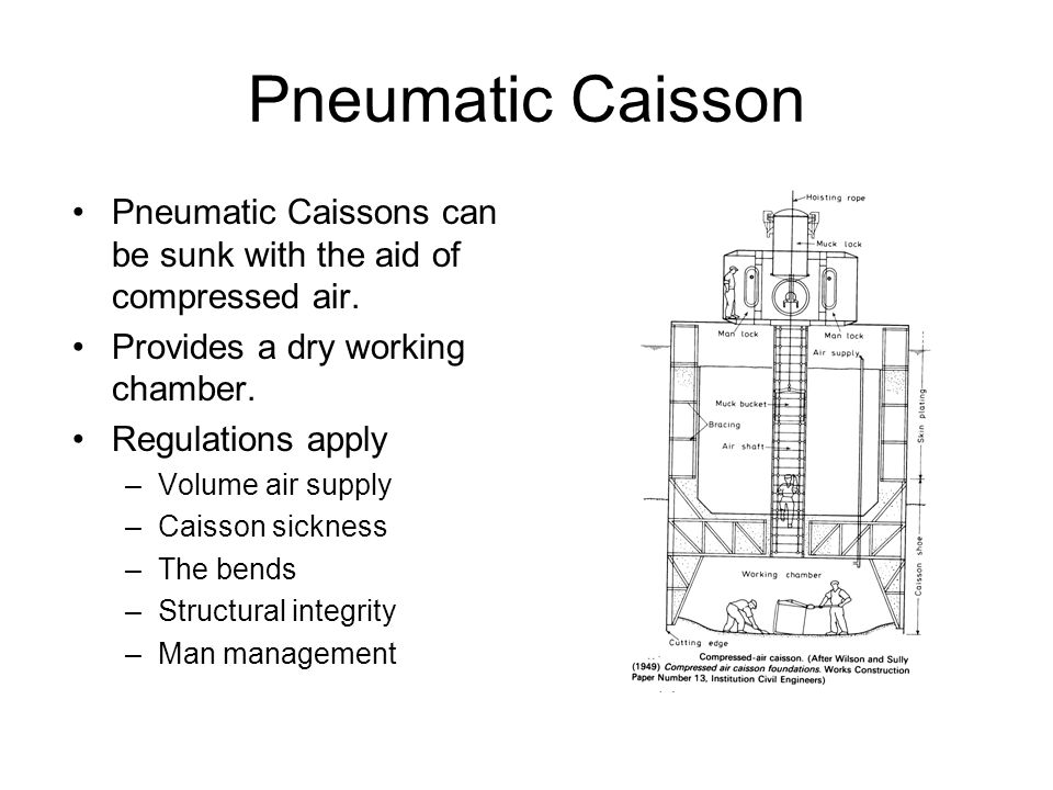 Pneumatic Caisson Pneumatic Caissons can be sunk with the aid of compressed air. Provides a dry working chamber.
