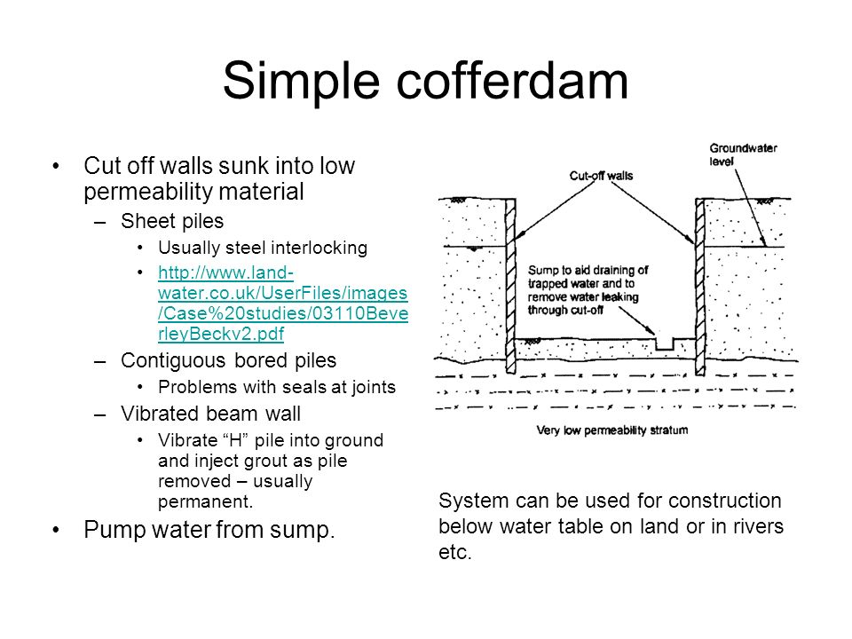 Simple cofferdam Cut off walls sunk into low permeability material