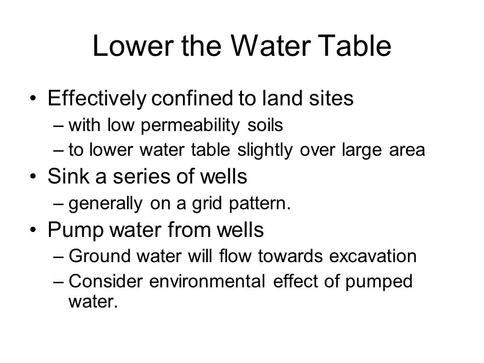 Lower the Water Table Effectively confined to land sites
