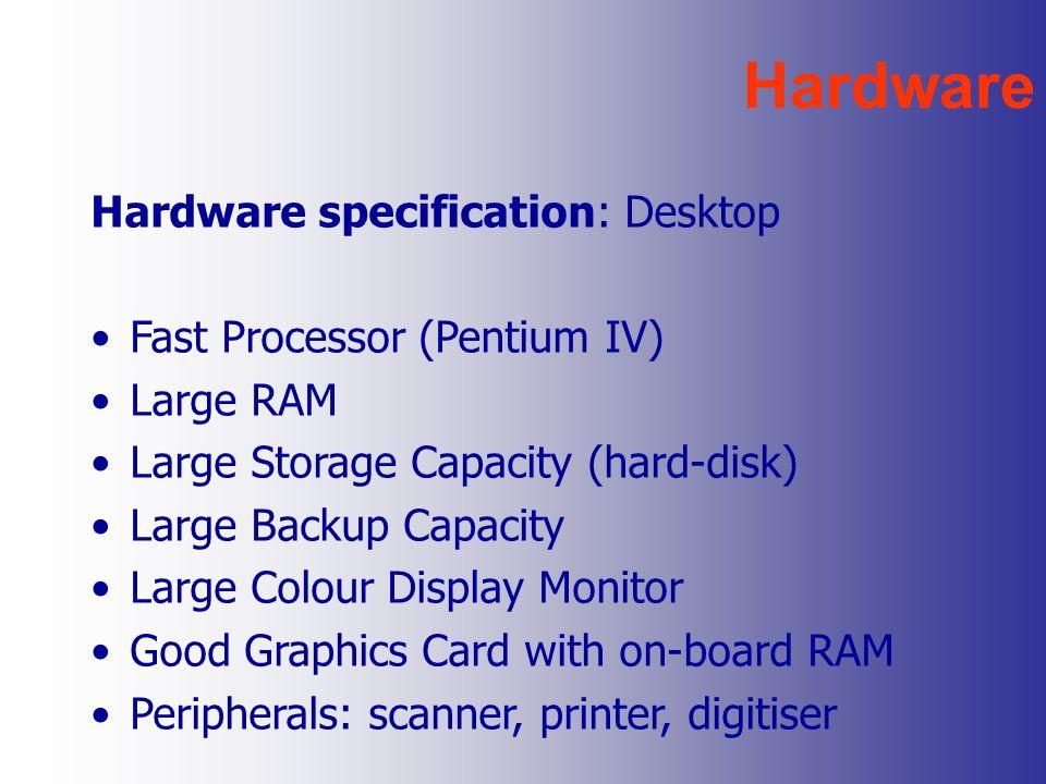 Hardware Hardware specification: Desktop Fast Processor (Pentium IV)