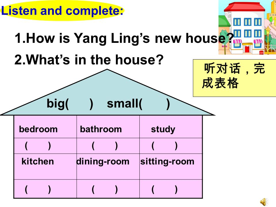 1.How is Yang Ling's new house 2.What's in the house