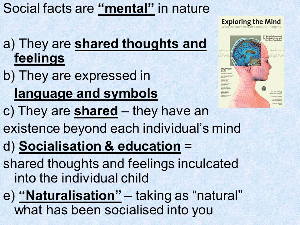 Social facts are mental in nature