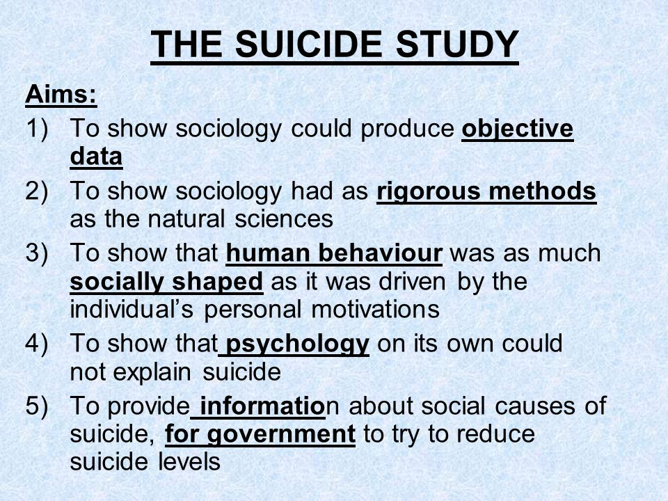 THE SUICIDE STUDY Aims: To show sociology could produce objective data