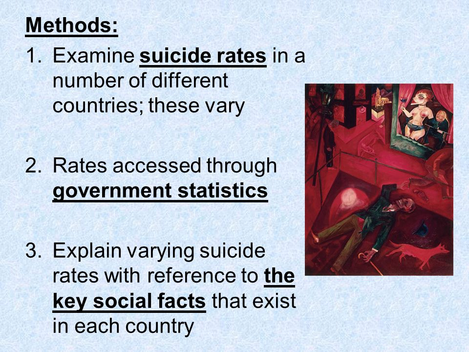 Methods: Examine suicide rates in a number of different countries; these vary. Rates accessed through government statistics.