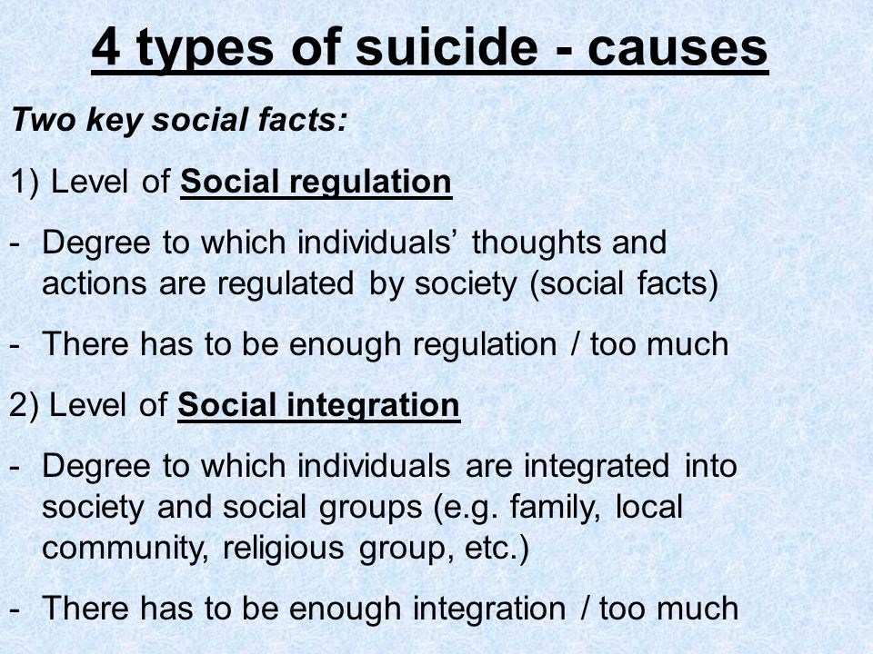 4 types of suicide - causes