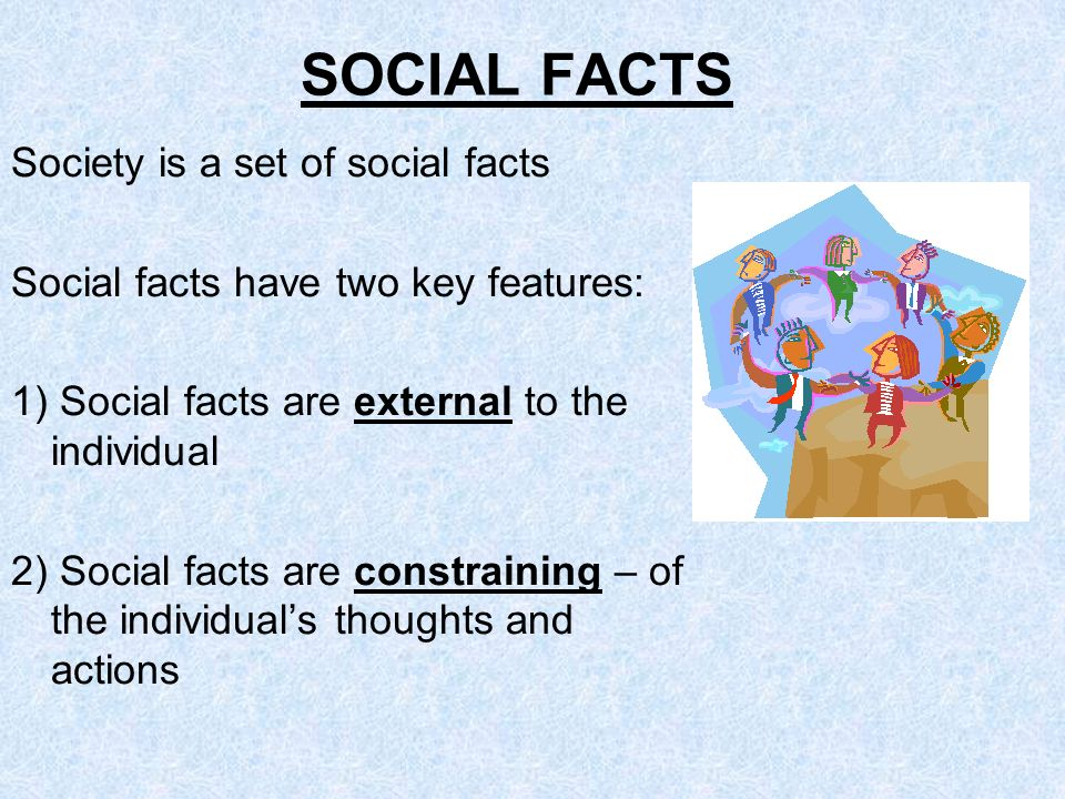 SOCIAL FACTS Society is a set of social facts