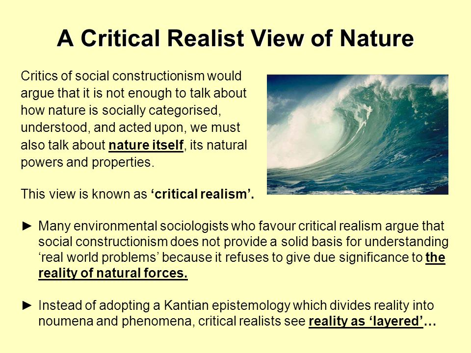 A Critical Realist View of Nature