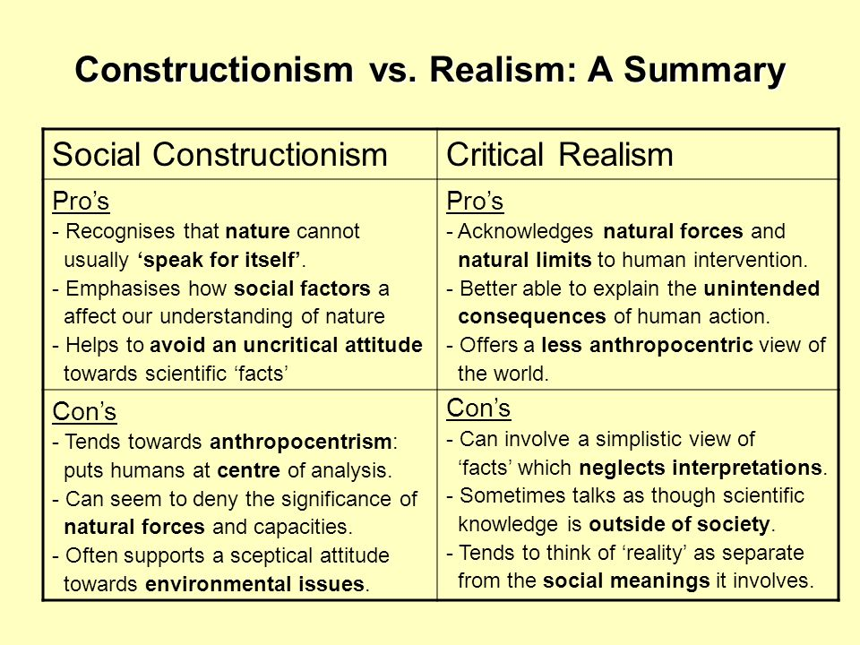 Constructionism vs. Realism: A Summary
