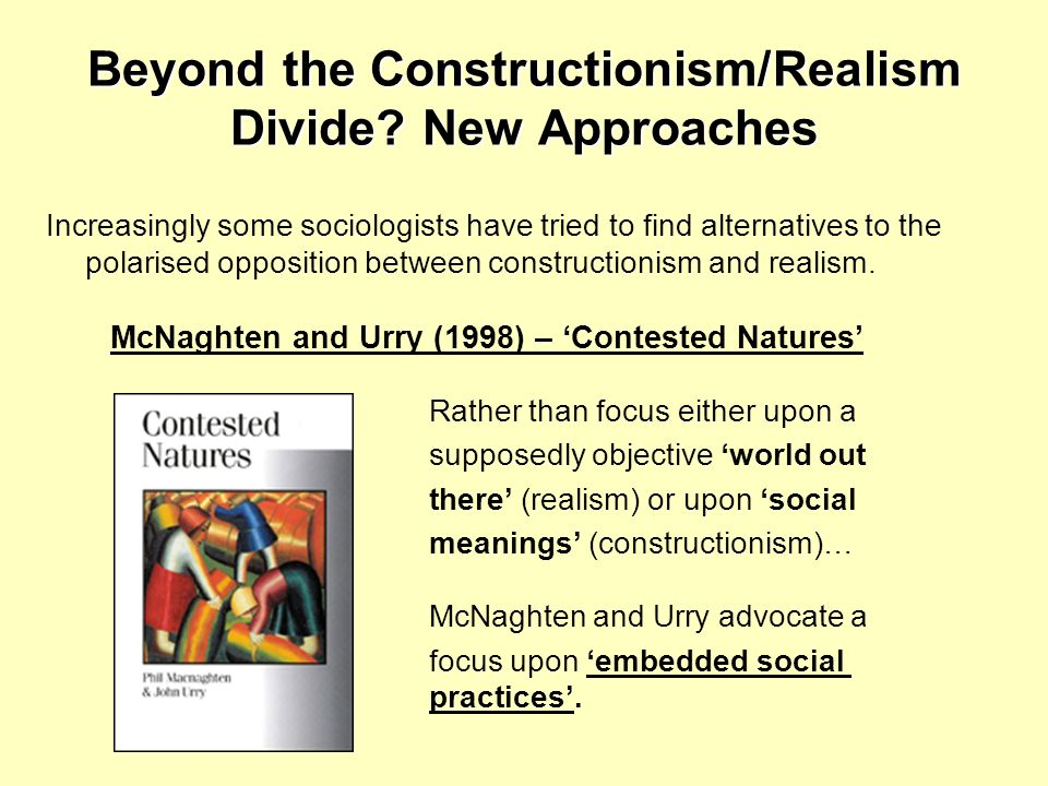 Beyond the Constructionism/Realism Divide New Approaches