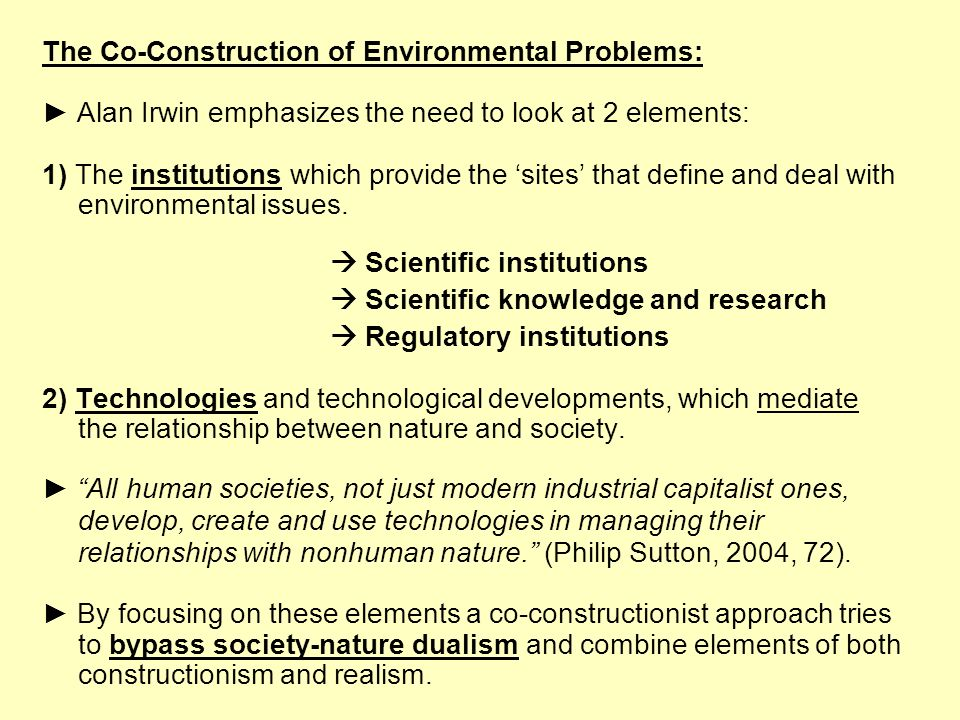 The Co-Construction of Environmental Problems: