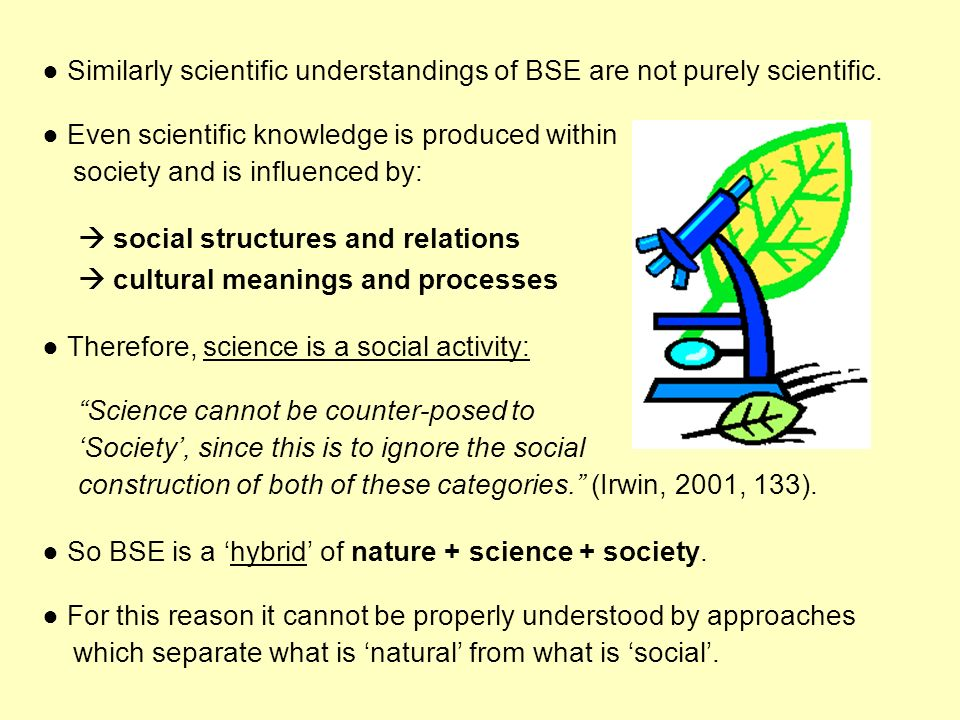 ● Similarly scientific understandings of BSE are not purely scientific.
