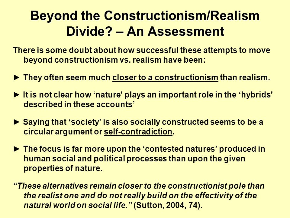 Beyond the Constructionism/Realism Divide – An Assessment