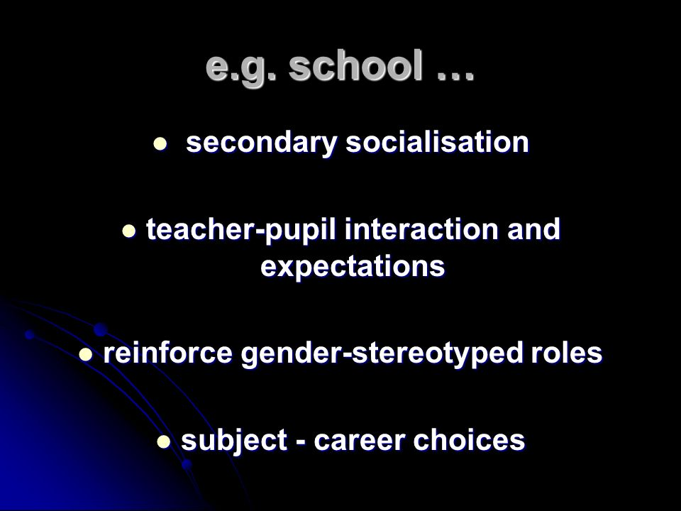 e.g. school … secondary socialisation